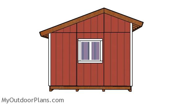 12x12 saltbox shed plans - side view