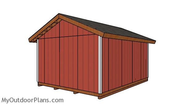14x18 Shed Plans - Back view