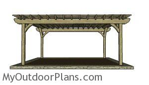 16x20 Pergola Plans - Front view
