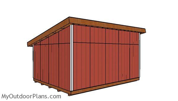 16x20 lean to shed plans - back view