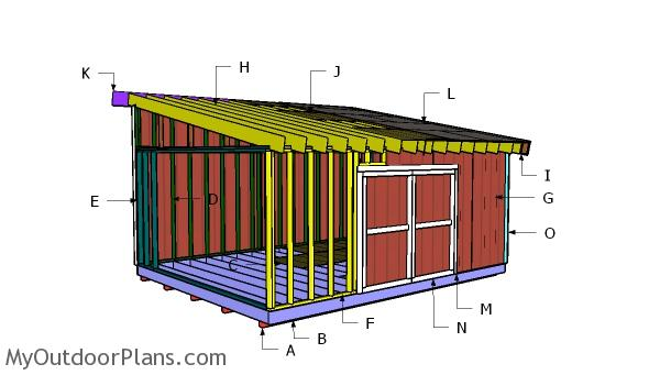 16x20 Lean to Shed Roof Plans