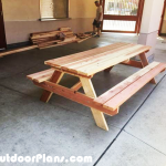 DIY 8 ft Redwood Picnic Table