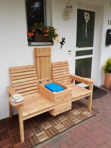 Double chair bench with table