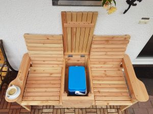 Garden bench with cooler
