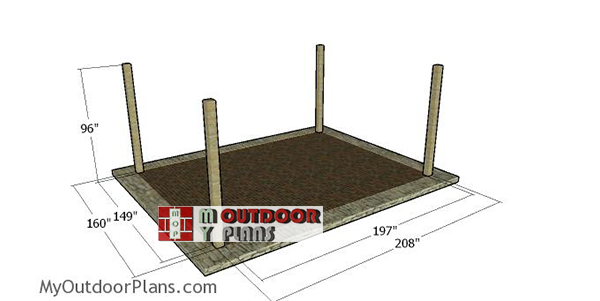 Laying-out-the-posts---16x20-pergola