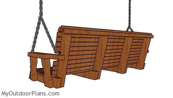 Simple 5 ft Porch swing Plans - side view