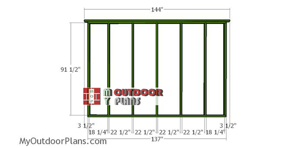 Back-wall-frame---10x12-field-shed