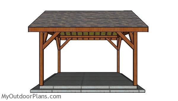 14x14 Pavilion Plans - side view