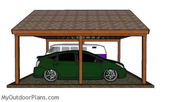 2 car Gable Carport Plans - side view