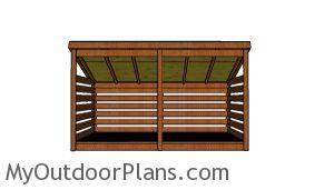 3 cord firewood shed plans - front view