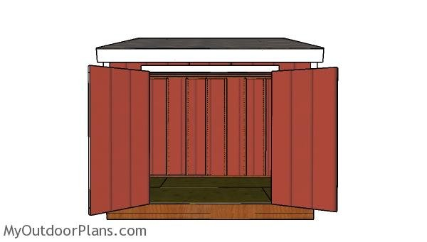 8x10 lean to shed plans - front view