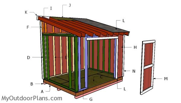 8×10 Lean to Shed Roof Plans