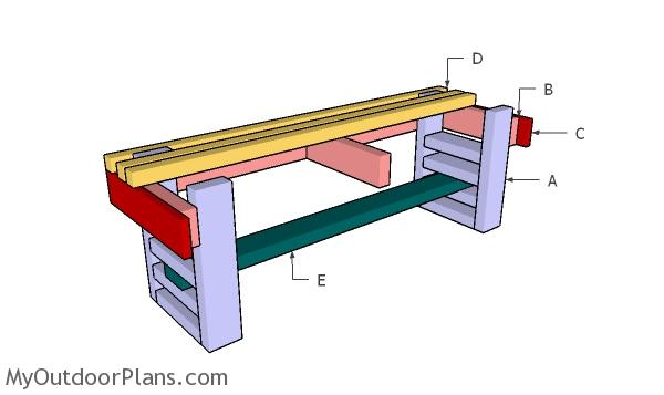 Building a slatted bench