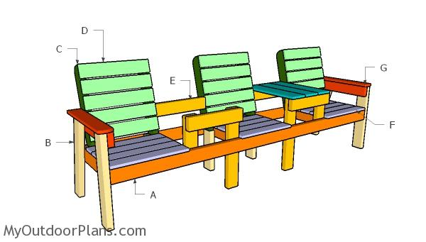 Building a three chair bench with table