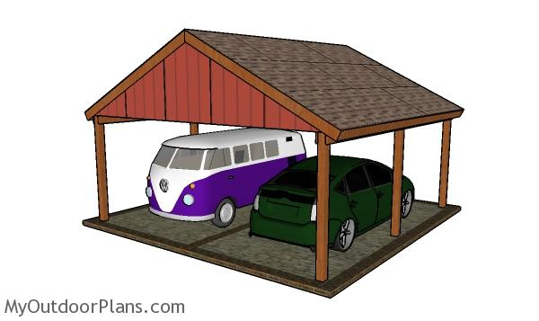 2 Car Gable Carport Plans