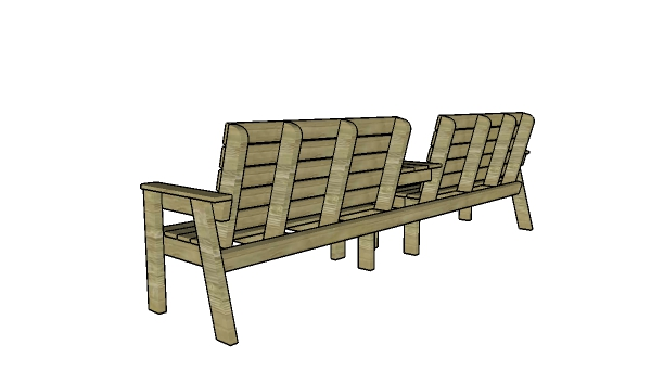 Double loveseat with table plans - backview