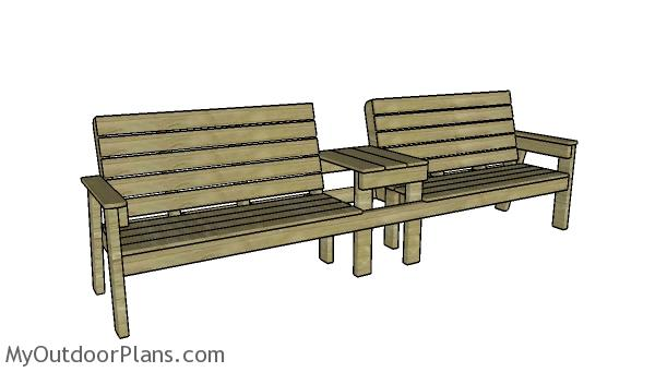 Double Loveseat Bench with Table Plans