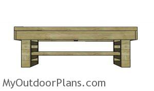 Slatted bench plans - front wall