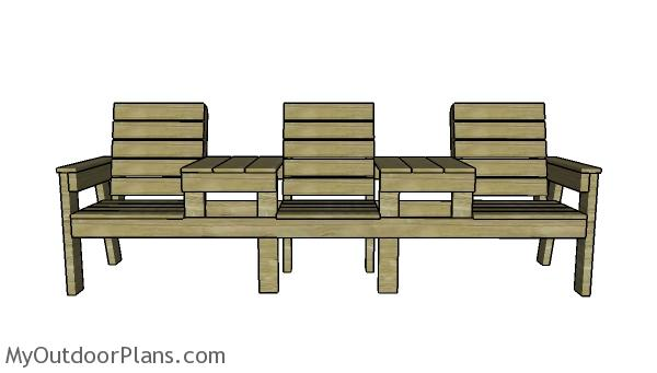 Three chair bench with table plans
