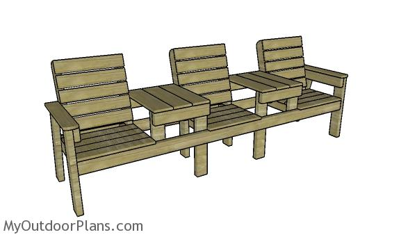 Triple chair bench with table plans