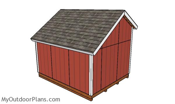 10x12 saltbox shed plans - back view