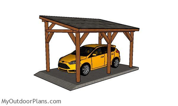 10x16 Lean to Carport Roof Plans | MyOutdoorPlans | Free ...