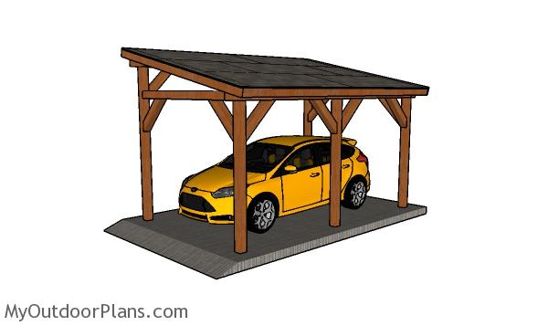 10x16 Lean to Single Carport Plans