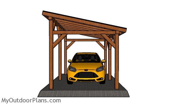 10x16 carport plans - front view