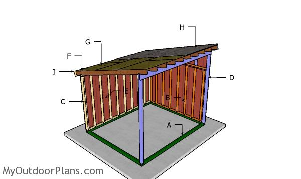 10x12 Run in Horse Shelter Roof Plans