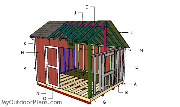 10x12 Saltbox Shed Roof Plans