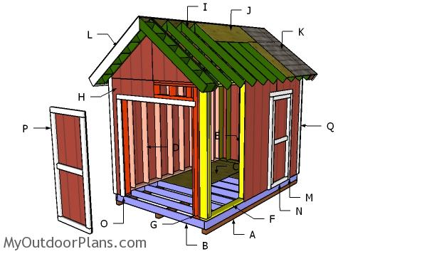 8×10 Heavy duty Gable Shed Roof Plans
