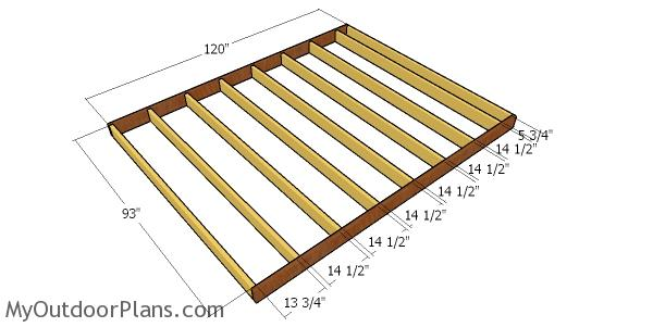Floor frame for 8x10 shed
