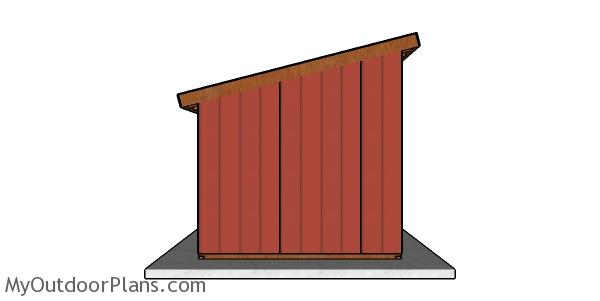 10x10 Run in Shed Plans - Side view