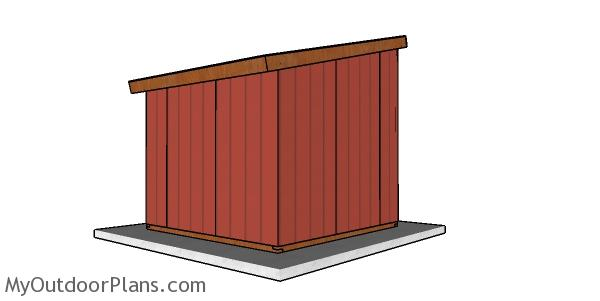 10x10 run in shed - back view