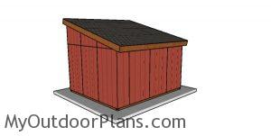 12x14 Run In Shed Plans - Back view
