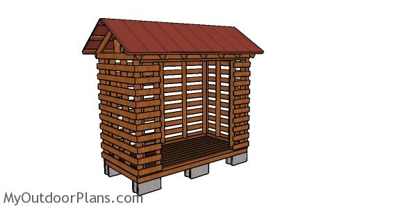 Firewood Shed made from 2x4 lumber Plans