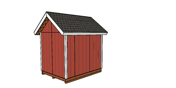 8x10 Heavy duty Shed Plans - back view