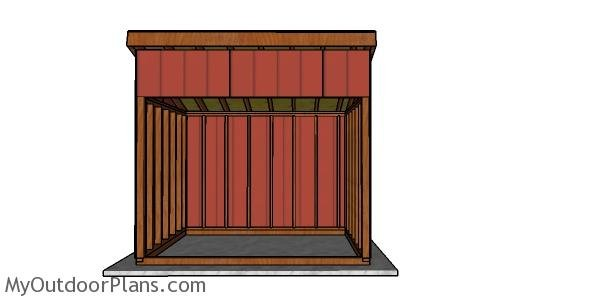 8x10 Run in Shed Plans - front view