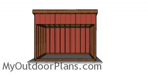 8x12 run in shed plans - front view