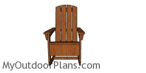 Adirondack rocking chair plans - front view