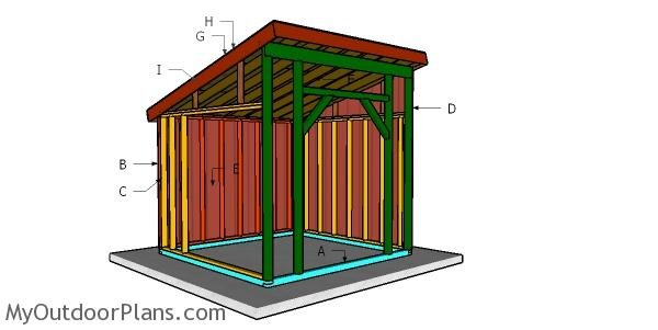 10x10 Run in Shed Roof Plans