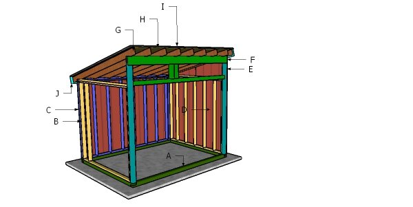 8x10 Run in Shed Roof Plans