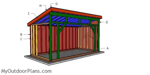 8x16 Run in Horse Shelter Roof Plans
