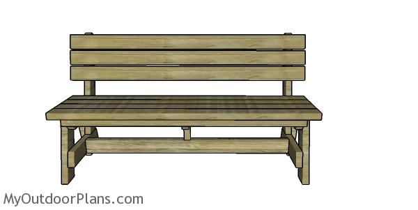 5 ft Bench with Back Plans - front view