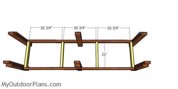 Assembling the lower shelf frame