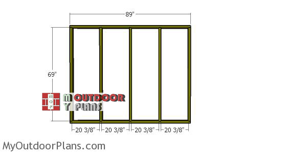 Back-wall-frame---2x4-wood-shed