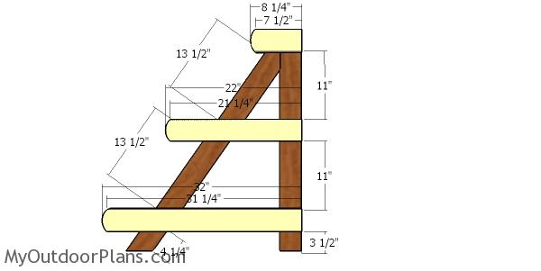 Fitting the 2x4 shelf supports