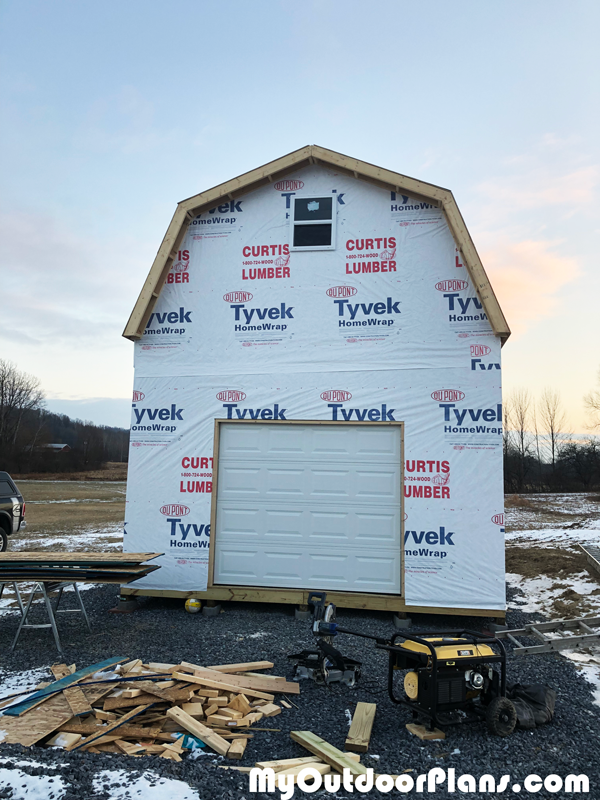 Fitting-the-garage-door-to-the-16x20-barn-shed