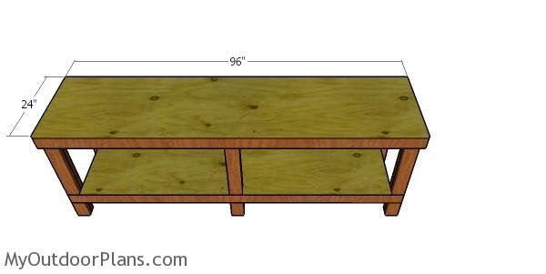 Fitting the workbench top