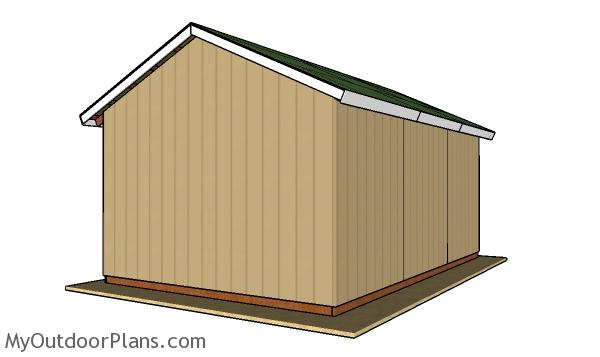 16x24 Pole Barn Plans - Back view